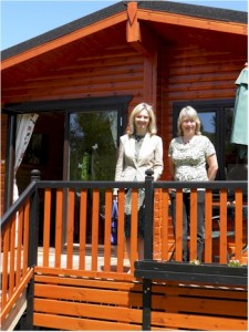 Elizabeth Truss outside Alderwood Lodges